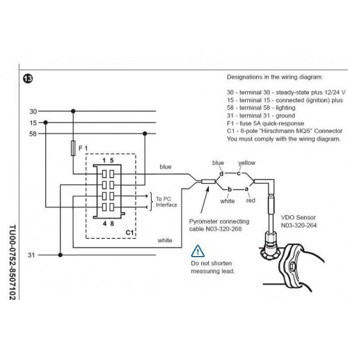 PYROMETER_WIRING 500x500 vdo wiring diagram auto meter tach wiring \u2022 wiring diagrams j marine fuel gauge wiring diagram at panicattacktreatment.co